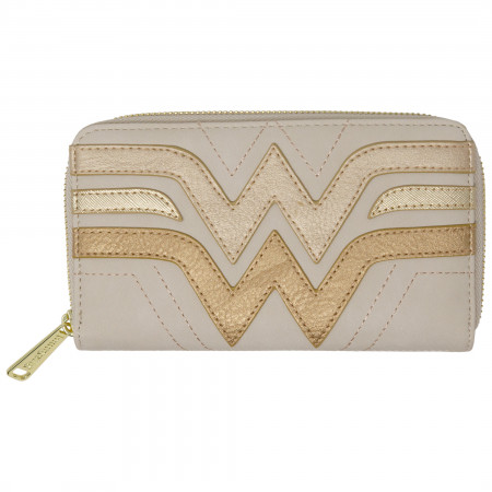 Wonder Woman Golden Faux Leather Zip Around Wallet