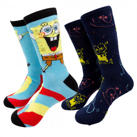 SpongeBob SquarePants 2-Pair Pack Crew Socks