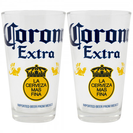 Corona Extra Color Block 2-Piece Pub Pint Glass Set