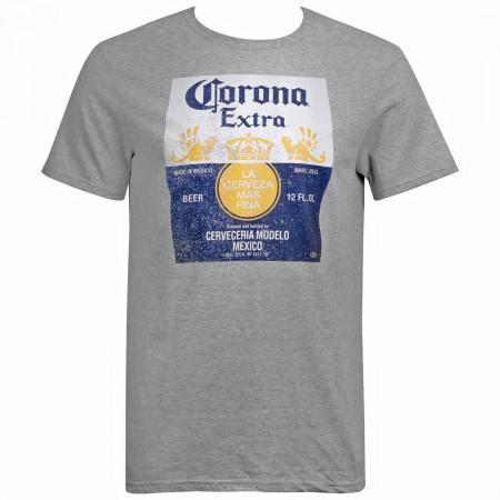Corona Extra Men's Grey Bottle Label T-Shirt