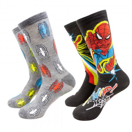 Spider-man Colorful Symbols Crew Socks 2-Pack