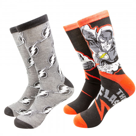 The Flash Greyed Out Symbols Crew Socks 2-Pack