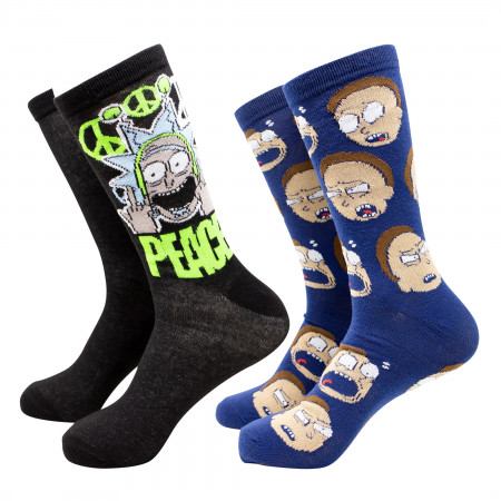 Rick and Morty Peace 2-Pack Crew Socks