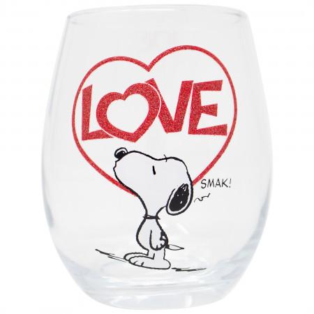 Snoopy Love 20 OZ Stemless Wine Glass