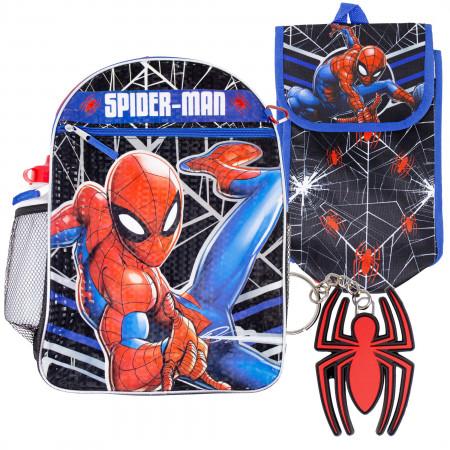 Spider-Man Backpack, Lunch Bag, Water Bottle 5-Piece Combo Set
