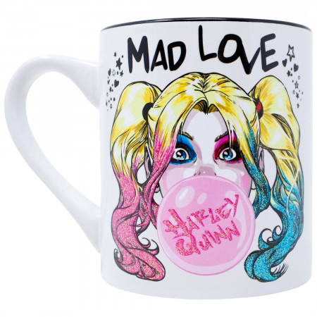 Harley Quinn Mad Love Bubble Gum 14oz Glitter Ceramic Mug