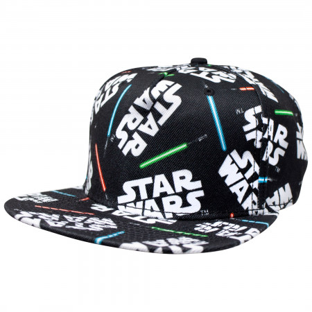 Star Wars All Over Lightsaber Print Snapback Hat