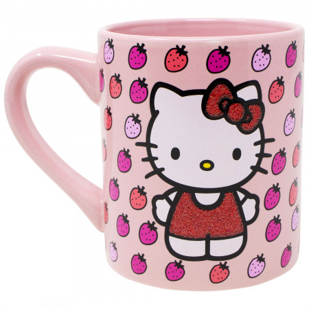 Hello Kitty Strawberries 14oz Glitter Ceramic Mug