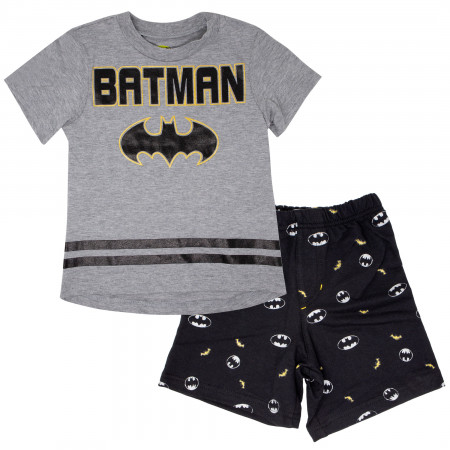 Batman Symbol Kids Shirt and All Over Print Shorts Boys Set