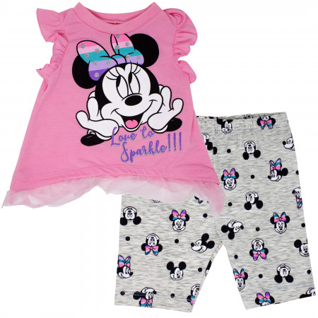 Minnie Mouse Love to Sparkle Baby Toddler Girls Shirt and Shorts Set