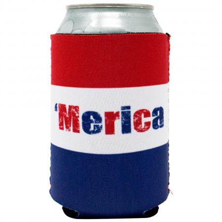 'Merica USA Patriotic Can Cooler