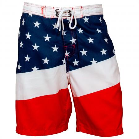 USA Patriotic Diagonal Stars and Stripes Board Shorts
