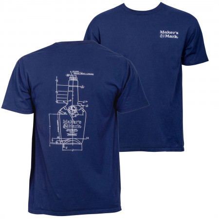 Maker's Mark Bottle Blue Print Eco Friendly Garment T-Shirt