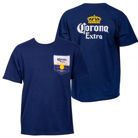Corona Extra Front and Back Label Pocket T-Shirt
