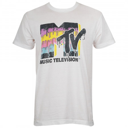MTV Men's Retro Melting Logo T-Shirt