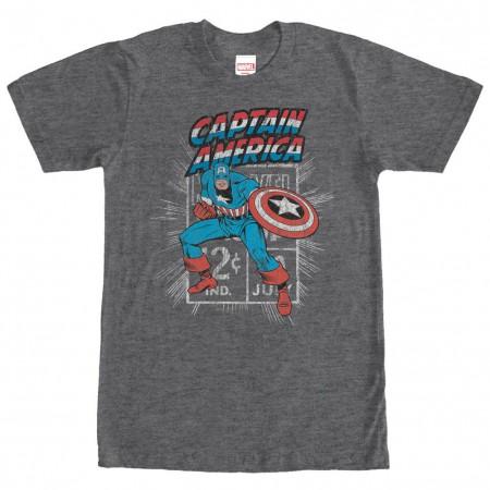 Captain America Captain Stamp Gray Mens T-Shirt