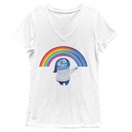 Disney Pixar Inside Out Sadness Rainbow White Juniors V Neck T-Shirt