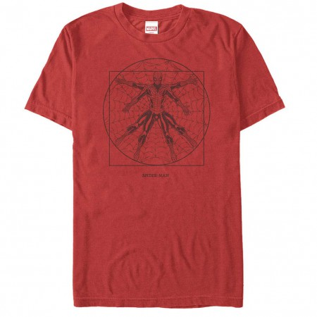 Spiderman Vitruvian Spider Red Mens T-Shirt