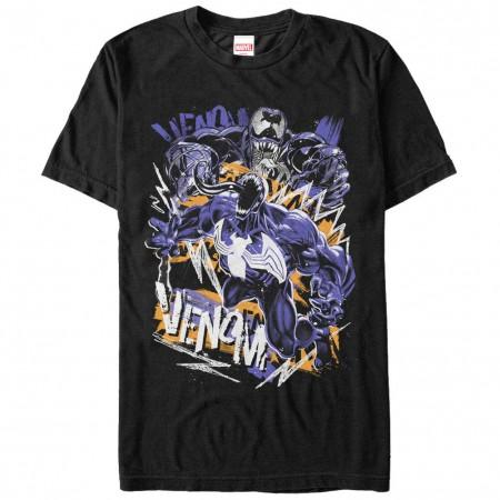 Spiderman Venom Speckles Black Mens T-Shirt