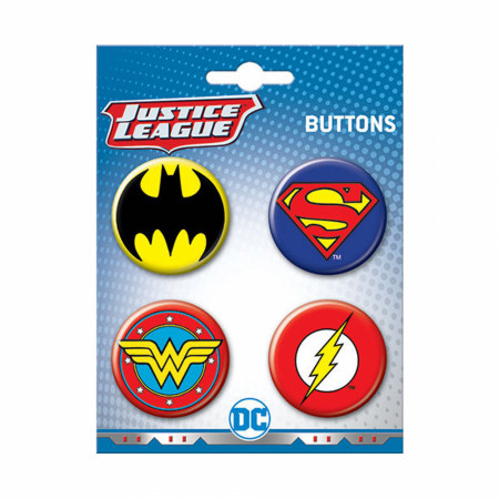 Justice League 4-Pack Button Set