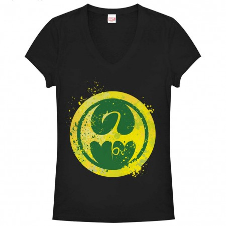 Marvel Teams Fist Splatter Icon Black Juniors V Neck T-Shirt