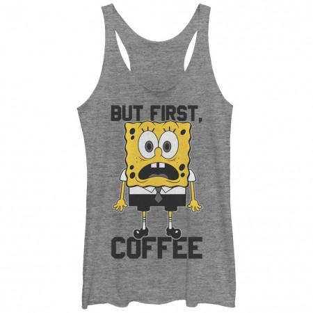 Spongebob Squarepants Nickelodeon First Coffee Gray Juniors Racerback Tank Top
