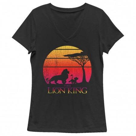 Disney Lion King Sunset Black Juniors V Neck T-Shirt