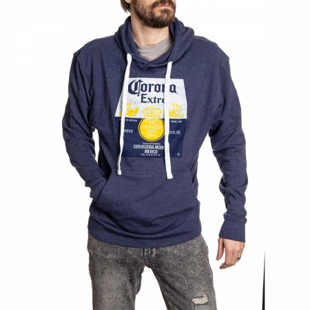 Corona Extra Washed Label Heather Blue Hooded Sweatshirt