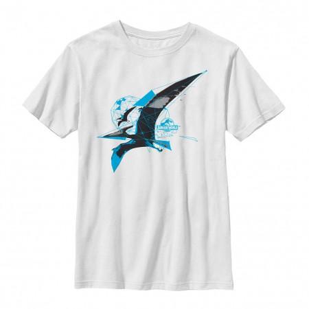 Jurassic World Flying Bird White Youth T-Shirt