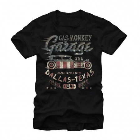Gas Monkey Garage Flag Filled Black T-Shirt