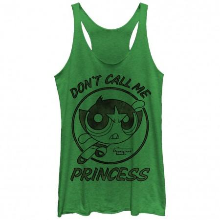 Power Puff Girls Buttercup Don't Call Me Princess Green Juniors Racerback Tank T