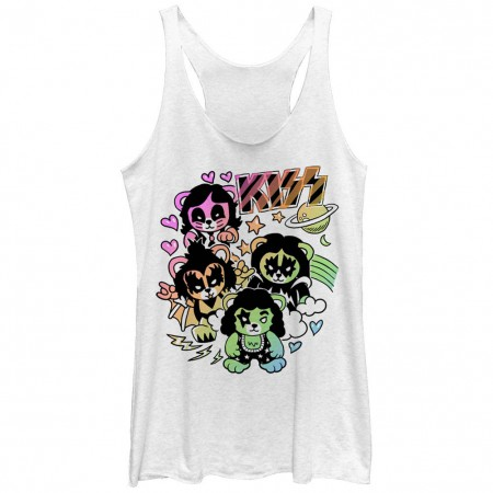 KISS Bears White Juniors Racerback Tank Top