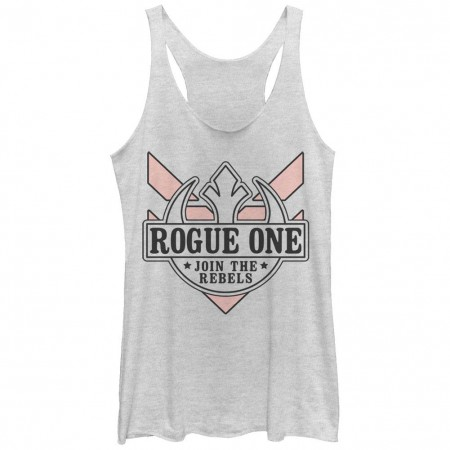 Star Wars Rogue One Join The Rebels White Juniors Racerback Tank Top