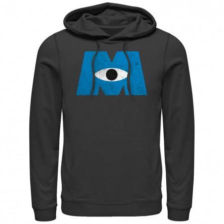 Disney Pixar Monsters Inc University Distressed Logo Black Lightweight Hoodie
