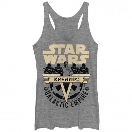 Star Wars Rogue One SW Vader 1 Gray Juniors Racerback Tank Top