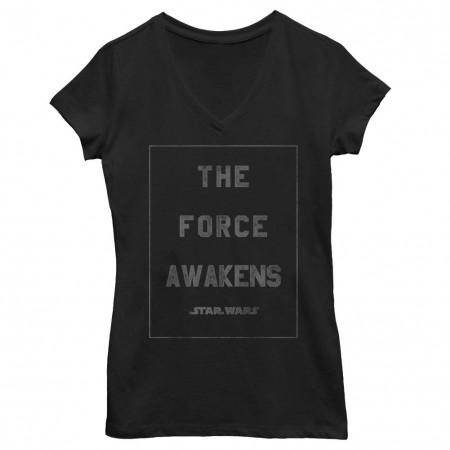 Star Wars Episode 7 Heroine Awakens Black Juniors V Neck T-Shirt