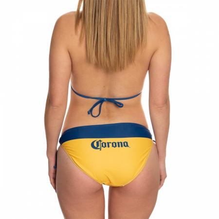 Corona Extra Navy Embroidered Gold Bikini Swimsuit