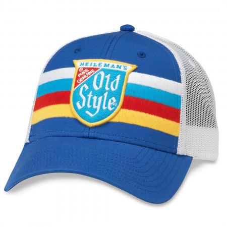 Old Style Beer Striped Vintage Mesh Trucker Hat