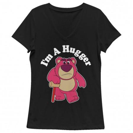 Disney Pixar Toy Story 1-3 I'm A Hugger Black Juniors V Neck T-Shirt
