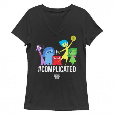 Disney Pixar Inside Out Complicated Black Juniors V Neck T-Shirt