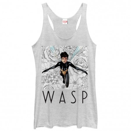 Marvel Teams The Wasp White Juniors Racerback Tank Top