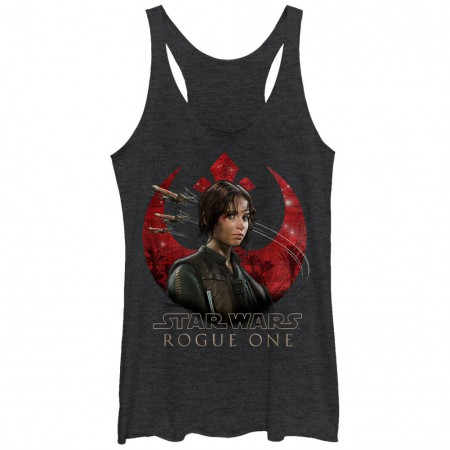Star Wars Rogue One Tasked Black Juniors Racerback Tank Top