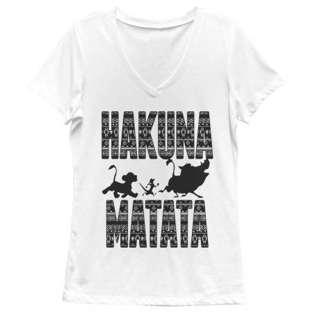 Disney Lion King Hakuna Print White Juniors V Neck T-Shirt