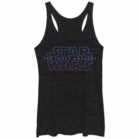 Star Wars Episode 7 Starry Logo 7 Black Juniors Racerback Tank Top