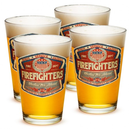 Four Pack Vintage Firefighter Beer Pints
