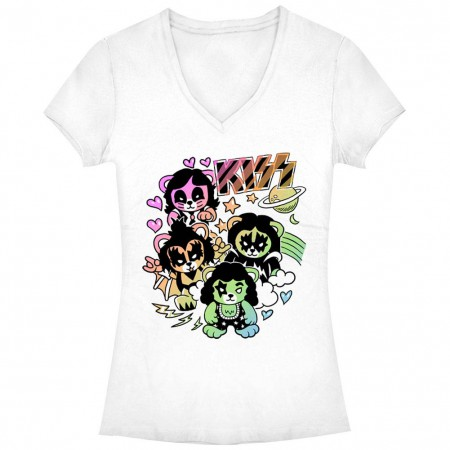 KISS Bears White Juniors V Neck T-Shirt
