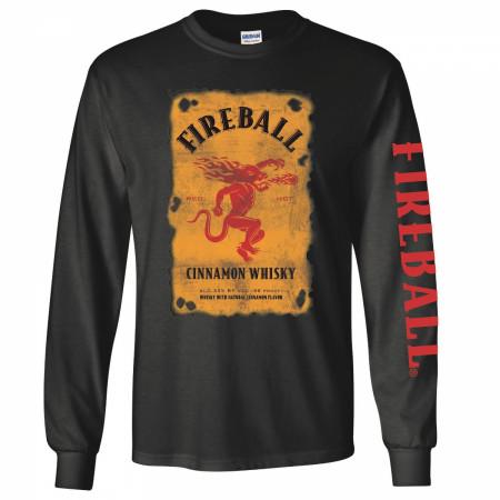 Fireball Bottle Label Long Sleeve Shirt