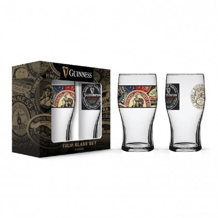 Guinness Labels 2 Pack Pint Glass Set
