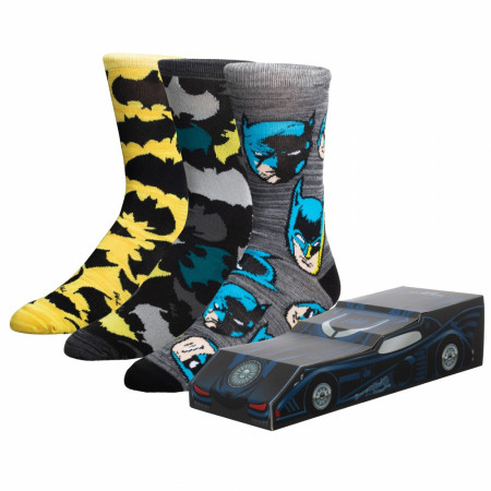 Batman 3-Pack Crew Socks Batmobile Box Set
