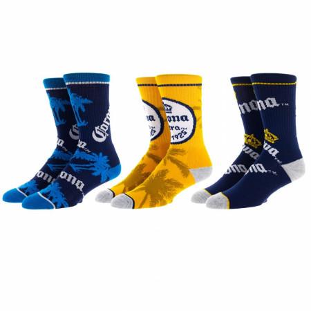 Corona Symbols and Branding 3-Pair Pack of Crew Socks